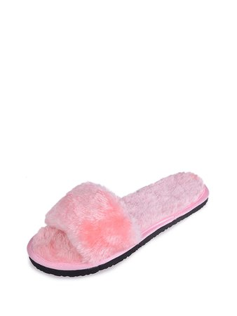 Faux Fur Design Flat Slippers