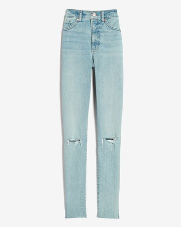 High Waisted Supersoft Ripped Raw Hem Skinny Jeans | Express