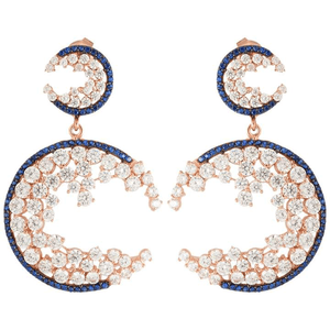 Sphera Milano 18K Rose Gold Plated Sterling Silver CZ Cluster Drop Earrings for $229.00 available on URSTYLE.com