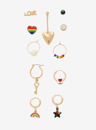 Rainbow Heart Mismatch Earrings