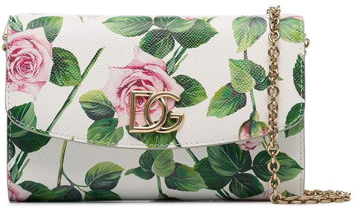 floral-print leather clutch bag