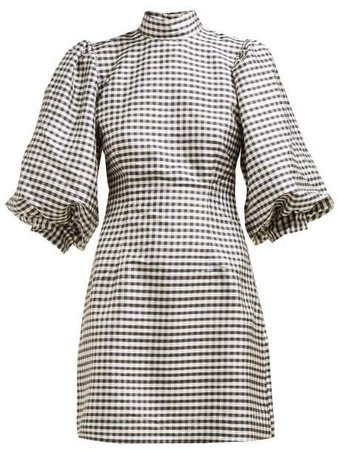 Gingham Check Fitted Silk Mini Dress - Womens - Black White