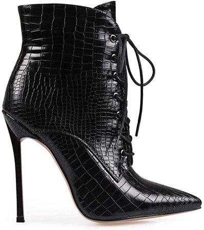 Amazon.com | wetkiss Women's Pointed Toe Ankle Boots Lace Up Stiletto High Heel Booties Dress Lady Short Bootie Shoes Black | Ankle & Bootie