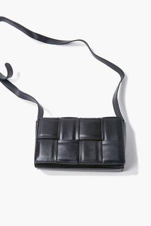 Faux Leather Crosshatch Crossbody Bag