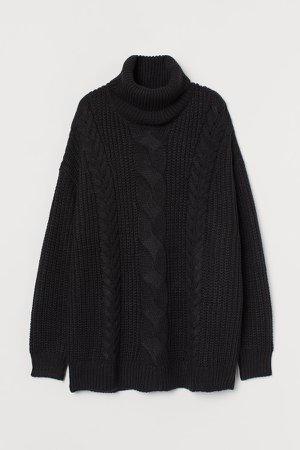 Oversized Turtleneck Sweater - Black
