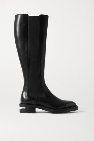 Andy Leather Knee Boots - Black