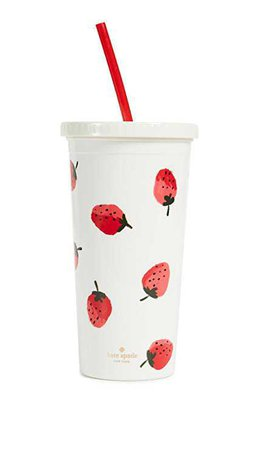Amazon.com: Kate Spade New York Women's Strawberries Tumbler with Straw, Red/Green/White, One Size: Clothing