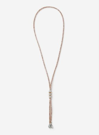 Rose Gold Mesh Lariat Necklace | Dorothy Perkins