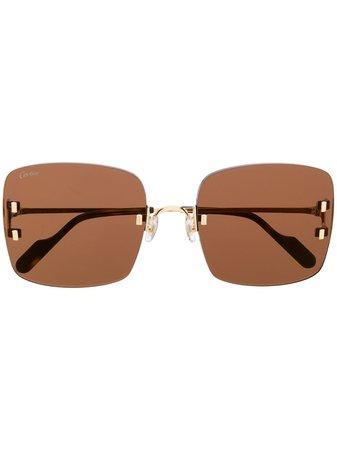 Cartier, Eyewear C Décor Rimless square-frame Sunglasses