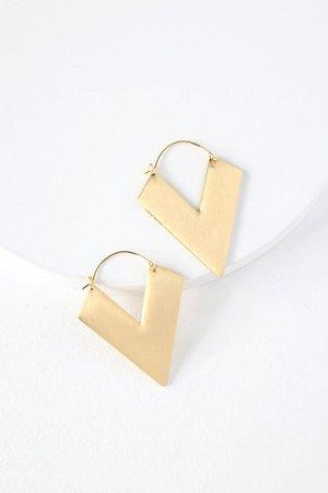 Lovely Gold Earrings - V Shape Earrings - Brushed Gold Earrings