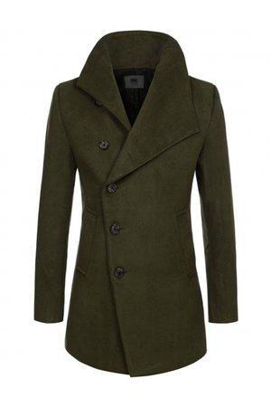 Khaki Green Mens Asymmetric Single Breasted Wool Blend Pea Coats Mens