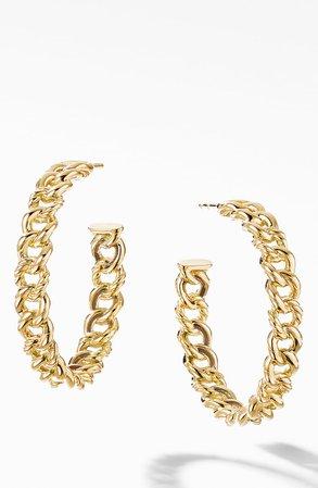 David Yurman Medium Belmont Curb Link 18k Yellow Gold Hoop Earrings   Nordstrom