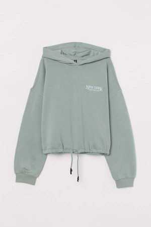 Hoodie with Drawstring Hem - Green