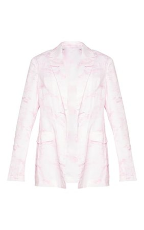 Light Pink Marble Print Oversized Blazer | PrettyLittleThing