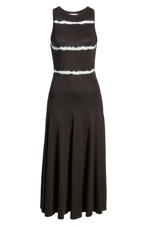 Ninety Percent Stripe Tie Dye Open Back Midi Dress black