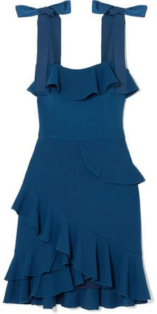 Aegean Ruffled Stretch-crepe Mini Dress - Blue