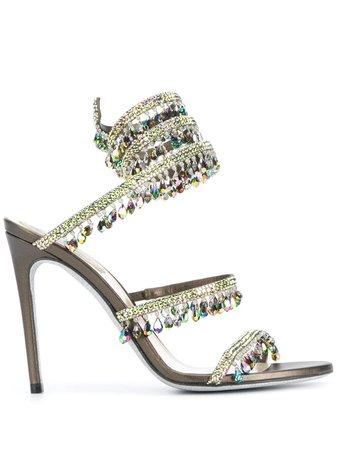 René Caovilla crystal-embellished Spiral Sandals - Farfetch