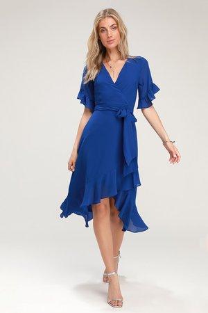Sexy Royal Blue Dress - Blue High-Low Dress - High-Low Wrap Dress
