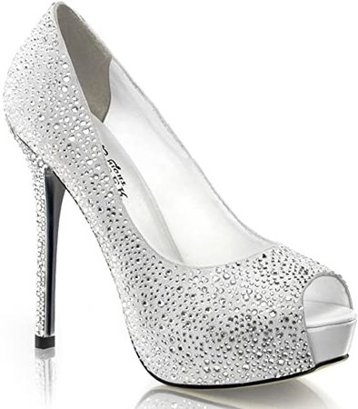 Amazon.com | 5 Inch Rhinestone Peep Toe Pumps Black Silver Women's Sexy High Heel Shoes | Pumps