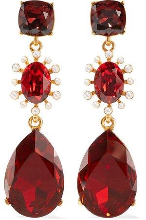 Oscar de la Renta | Gold-tone, crystal and faux pearl clip earrings | NET-A-PORTER.COM