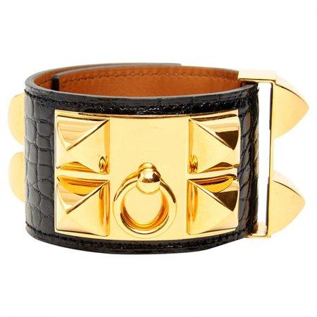 Hermès cuff-bracelet CDC Medor alligator Golden Gold metal ref. A143055 - Instant Luxe