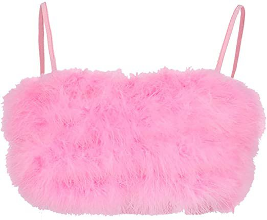 Amazon.com: XUEHUA Womens Sexy Spaghetti Strap Feather Crop Top Camisole Fluffy Plush Bralette Vest Pink S: Home & Kitchen