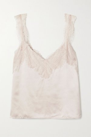 Beige The Brandice lace-trimmed silk-charmeuse camisole | Cami NYC | NET-A-PORTER