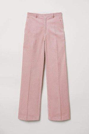 Wide-leg Corduroy Pants - Pink