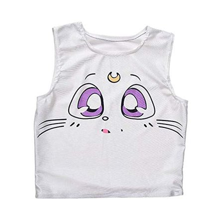 GIGA Women Teen Girl Cute Cartoon Pattern White Sleeveless tank tops Tee Vest at Amazon Women's Clothing store