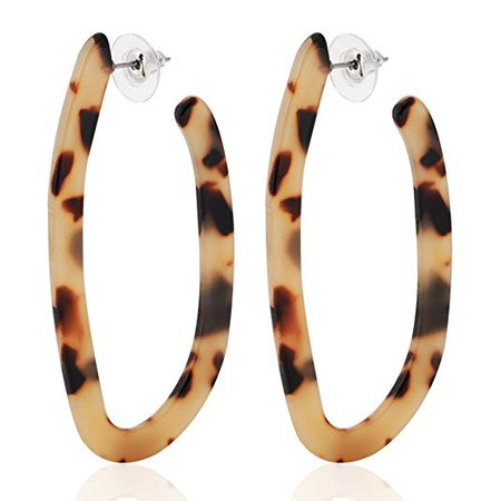 Amazon.com: ALEXY Women's Mottled Hoop Earrings Bohemia Acrylic Resin Hoops Stud Earrings (Leopard color): Jewelry