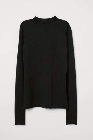 Fine-knit Merino Wool Sweater - Black