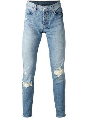 Ksubi Blue Distressed Skinny Jeans for men