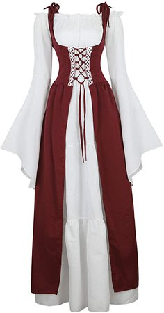 Amazon.com: Kranchungel Womens Renaissance Medieval Dress Costume Irish Lace up Over Long Dress Retro Gown Cosplay: Clothing