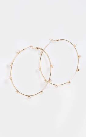 Gold Pearl Studded Hoop Earrings | PrettyLittleThing USA