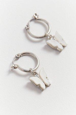 Bri Mini Butterfly Charm Hoop Earring | Urban Outfitters Canada