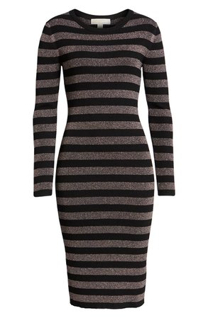 MICHAEL Michael Kors Metallic Stripe Sweater Dress | Nordstrom