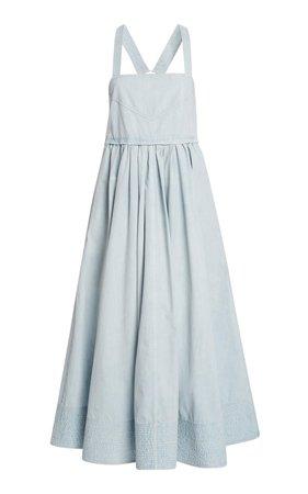 Washed Cotton Midi Apron Dress by Proenza Schouler White Label | Moda Operandi