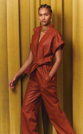 Belted Leather Jumpsuit By Oscar De La Renta | Moda Operandi