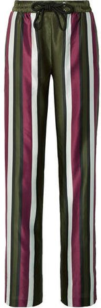 Striped Cotton And Silk-blend Satin Straight-leg Pants - Army green