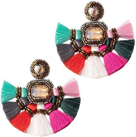 Amazon.com: Large Colorful Fringe Tassel Earrings For Women Fashion Statement Bohemian Big Denim Handmade Beaded Tassel Earrings Fanned Round Hanging Wedding Boho Fan Fringe Tassel Earrings Multicolor: Jewelry