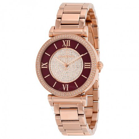 Michael Kors Catlin Crystal-set Burgandy Dial Rose Gold-plated Ladies Watch MK3412 - Catlin - Michael Kors - Watches - Jomashop