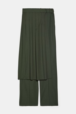 PLEATED SKIRT PANTS | ZARA United States green