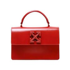 red and white off white bag