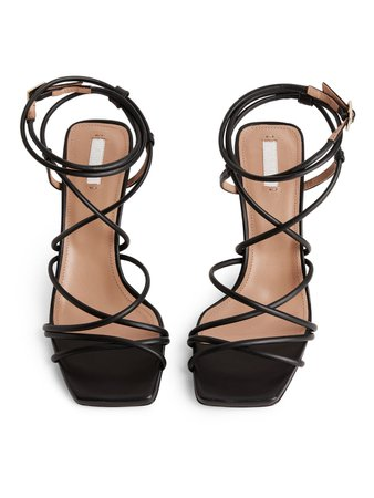 High-Heel Leather Strap Sandal - Black - Shoes - ARKET SE