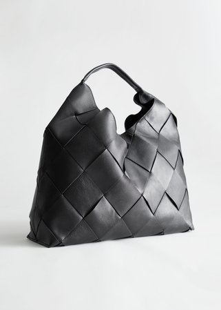 Braided Leather Tote Bag - Black - Totes - & Other Stories