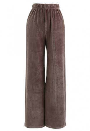 Corduroy High-Waisted Pants in Brown - Retro, Indie and Unique Fashion