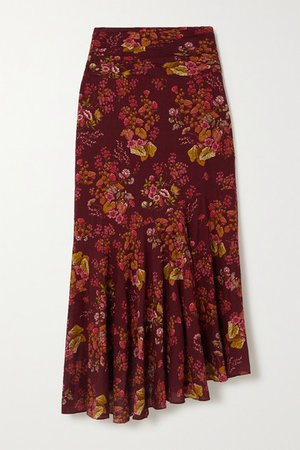 Net Sustain Ruched Floral-print Organic Cotton-blend Skirt - Merlot