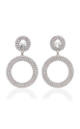Crystal And Brass Drop Hoop Earrings by Alessandra Rich   Moda Operandi