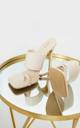 Cream Square Toe Toe Loop High Heel Mules | PrettyLittleThing USA