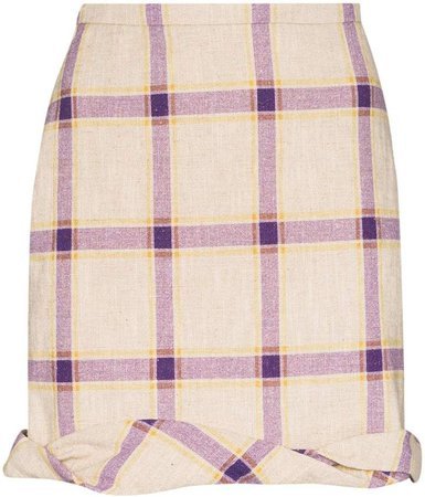 Cecilie linen checked skirt